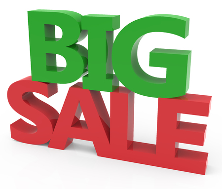 conspicuous: 3d rendering of green and red big sale, isolated on white background, right leaning Stock Photo