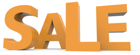 twisted 3d rendering of orange sale, isolated on white background, left leaning