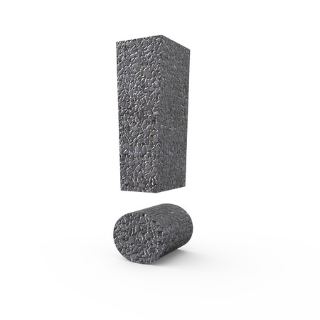 points of interest: 3D rendering Gravel exclamation mark isolated on white background