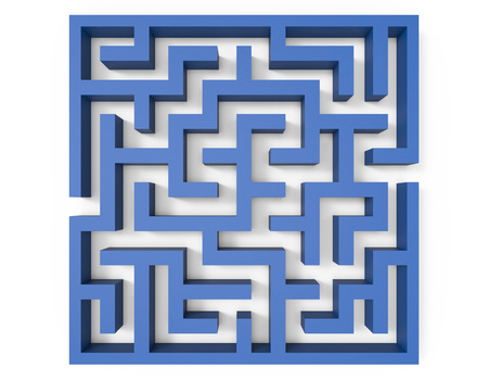 incertitude: 3d rendering maze, top view of blue square maze template, labyrinth for business concept or education, isolated on white background Stock Photo