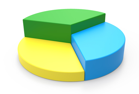 3d rendering colorful pie chart model, isolated white background Фото со стока