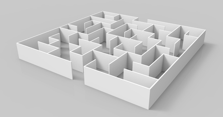 incertitude: 3d rendering maze, blank square maze template, labyrinth for business concept or education, isolated on grey background