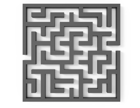 incertitude: 3d rendering maze, top view of grey square maze template, labyrinth for business concept or education, isolated on white background