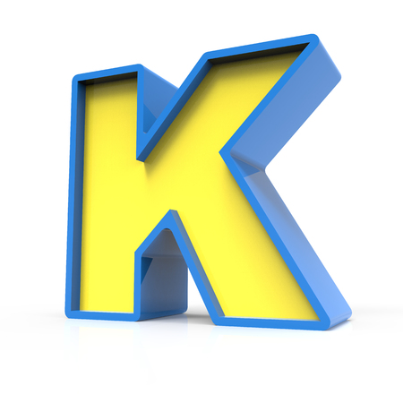 3d rendering toylike plastic yellow letter K with blue frame isolated on white background, 3d illustration, right leaning Stock Photo