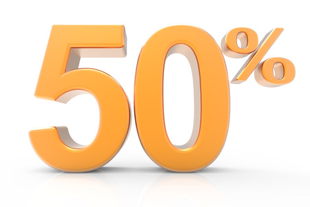 3d rendering of an orange 50% symbol, isolated on white background