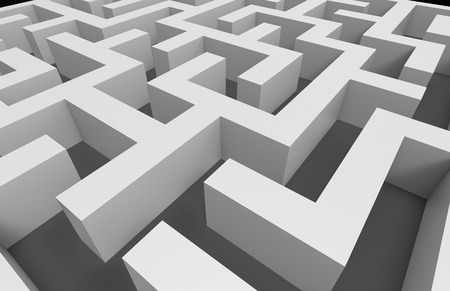 incertitude: 3d rendering maze, close up look at white maze template, labyrinth for business concept or education, isolated on grey background