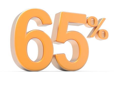65: 3d rendering of an orange 65% symbol, isolated on white background, left leaning