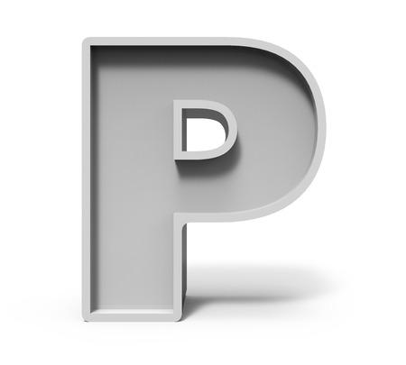 concrete background: 3d rendering concrete letter P isolated on white background, 3d rendering