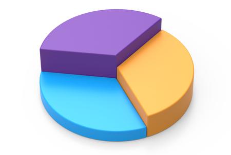 3D rendering kleurrijke cirkeldiagram model, witte achtergrond Stockfoto