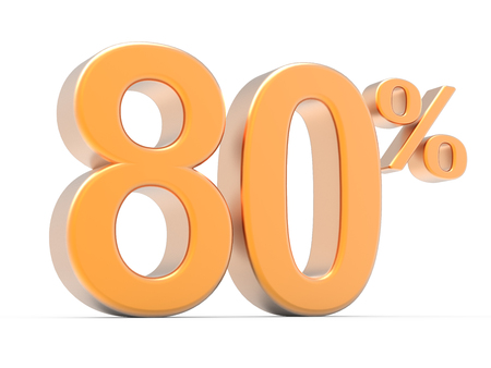 majority: 3d rendering of an orange 80% symbol, isolated on white background, left leaning Stock Photo