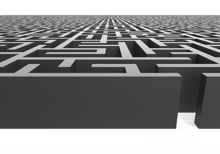 incertitude: 3d rendering maze, close up look at grey maze template, labyrinth for business concept or education, isolated on white background