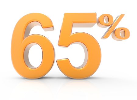 3d rendering of an orange 65% symbol, isolated on white background Stock Photo