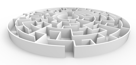 3d rendering maze, white round maze template, labyrinth for business concept or education