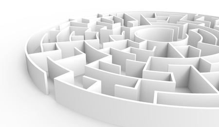 incertitude: 3d rendering maze, white round maze template, labyrinth for business concept or education