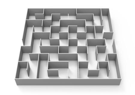 3D-rendering doolhof, grijze doolhof sjabloon, labyrint voor business concept of opleiding, geïsoleerd op een witte achtergrond