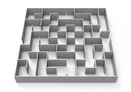 3d rendering maze, grey maze template, labyrinth for business concept or education, isolated on white background Stock Photo