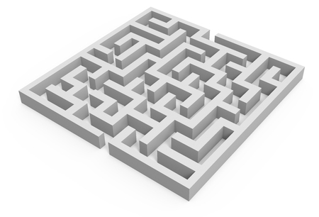 incertitude: 3d rendering maze, blank square maze template, labyrinth for business concept or education