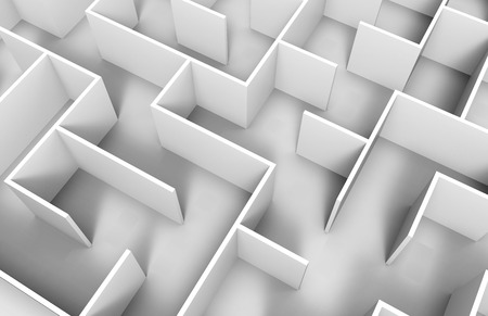 incertitude: 3d rendering maze, close up look at white maze template, labyrinth for business concept or education, isolated on white background