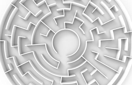 3d teruggevend labyrint, hoogste mening van reusachtig rond labyrintmalplaatje, labyrint voor bedrijfsconcept of onderwijs Stockfoto