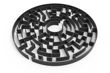 3d Rendering Maze, Dark Round Maze Template, Labyrinth For Business ...