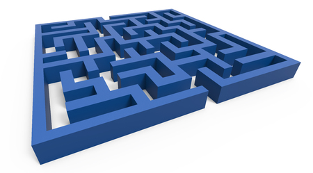 incertitude: 3d rendering maze, blue square maze template, labyrinth for business concept or education, isolated on white background Stock Photo