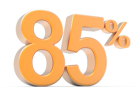 majority: 3d rendering of an orange 85% symbol, isolated on white background, left leaning Stock Photo