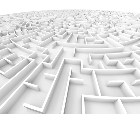 incertitude: 3d rendering maze, close up look at white round maze template, labyrinth for business concept or education