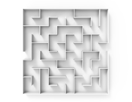 incertitude: 3d rendering maze, top view of round white maze template, labyrinth for business concept or education Stock Photo