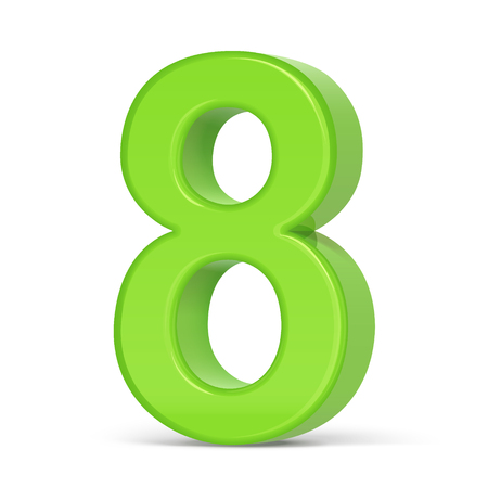 3d illustration light green number 8 isolated white background Illustration
