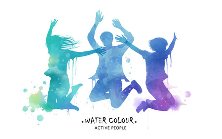 cheer: Watercolor jumping silhouette, young people jumping high in watercolor style. Blue and purple tone.