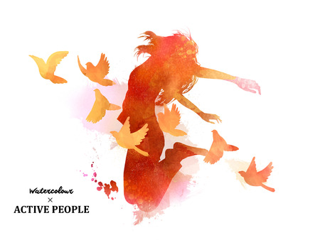 Watercolor jumping silhouette, young girl jumping with pigeons around her in watercolor style.