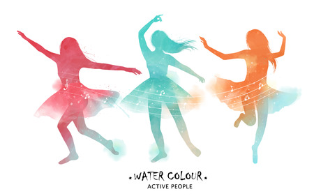 Watercolor ballet dancer silhouette, graceful ballet dancer motions in colorful tone.