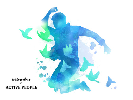 Watercolor jumping silhouette, young boy jumping with pigeons around him in watercolor style. Blue tone. Ilustração