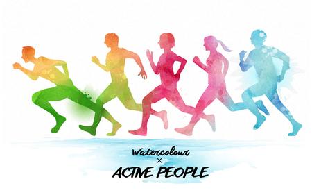 Acquerello persone in esecuzione, gruppo di persone che corrono insieme. Acquarello arcobaleno stile.
