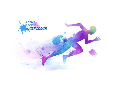 Watercolor running people, sprint man consists of watercolor splash elements.