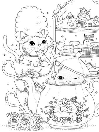 afternoon: black and white cats having british afternoon tea, for coloration