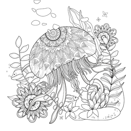 buoyant: jellyfish floating in the ocean, for coloration Illustration