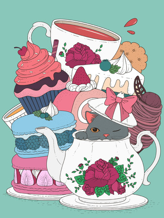 coloration: cat with pastry and tea, turquoise background