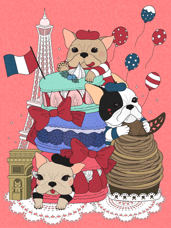 bulldogs with french pastry and buildings, pink background
