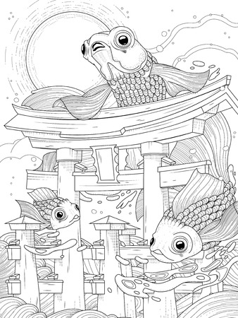 represent: Japanese torii in sea; with moon and golden fishes, black and white Illustration