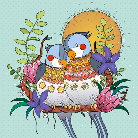 each: parrots snuggle with each other in sunset, mint background