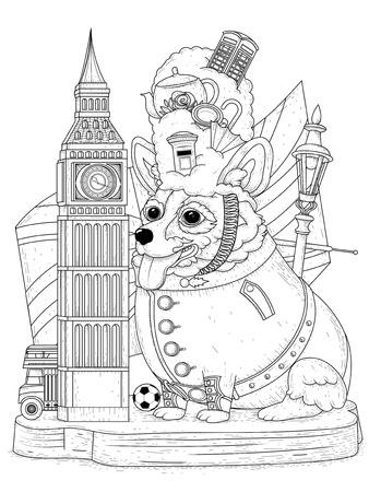 Perro Corgi Y Elementos Para El Turismo Británico, Colorido ...
