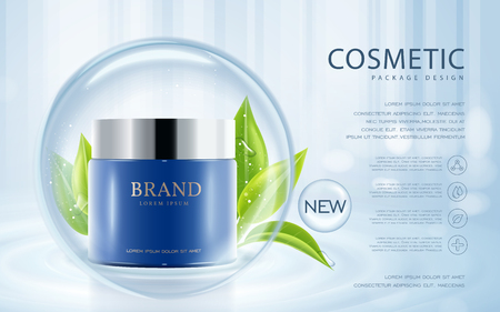 Cosmetic ads template, cream container mockup isolated on blue background. 3D illustration. Green leaves and translucent bubble elements.