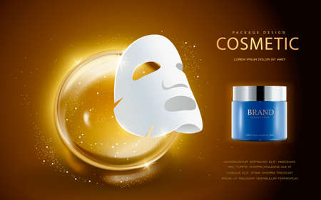 packet: Cosmetic ads template, facial mask and cream container mockup. 3D illustration. essence drop elements on the background.