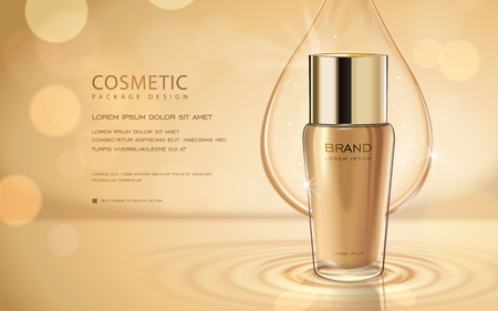 Cosmetic ads template, glass bottle with lotion or essence oil isolated on bokeh background. 3D illustration.