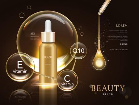 cuidado de la piel paquete modelo en blanco, ilustración 3d para los anuncios o revista