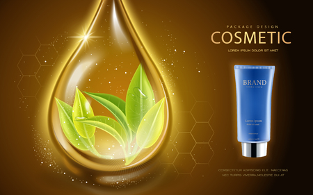 Cosmetic ads template, cosmetic tube with leaves in the essence oil drop. 3D illustration for fashion magazine or ads. Çizim