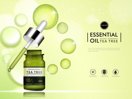 L'huile essentielle d'arbre à thé modèle de paquet vide, illustration 3d pour les annonces cosmétiques ou le magazine