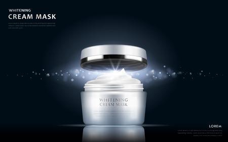 blanqueamiento máscara de crema paquete modelo en blanco, ilustración 3d para los anuncios de cosméticos o revista
