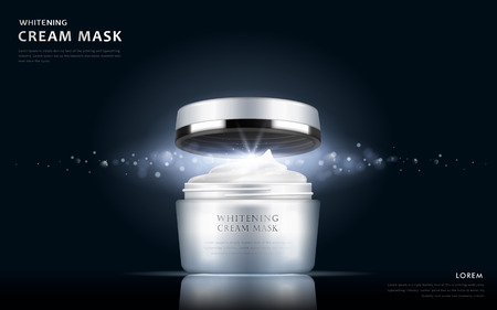 whitening cream mask blank package model, 3d illustration for cosmetic ads or magazine Çizim